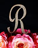Unik Occasions Sparkling Collection Crystal Rhinestone Monogram Cake Topper - Letter R, Large, Gold