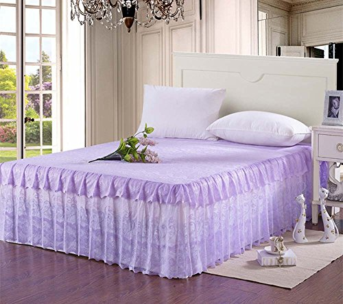 Princess Romantic Lace Bedding Fitted Sheet (Bed Skirt)/Valance Twin Full Queen King Size (Queen, Purple)