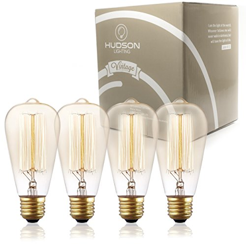 - Antique Vintage Edison Bulb ST64 - Hudson Lighting 60 watt Vintage Light Bulb - ST64 - Squirrel Cage Filament - 230 Lumens - Dimmable - E26 Bulb Base – Edison Light Bulbs - Amber Warm Glow