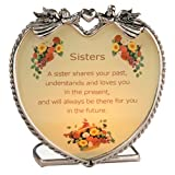 Sisters Candle Holder with Touching Poem - Heart Shaped Glass and Metal with Angels and Flowers - Inspirational Message Gift for Sister