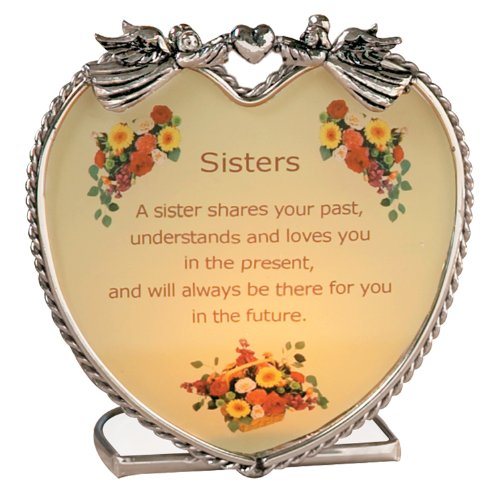 Banberry Designs Sisters Candle Holder with Touching Poem - Heart Shaped Glass and Metal with Angels and Flowers - Inspirational Message Gift for (Metal Angels Candle Holder)