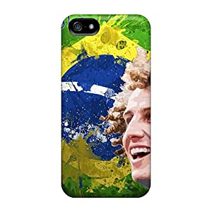 Rugged Skin Case Cover For Iphone 5/5s- Eco-friendly Packaging(the Best Football Player Of Chelsea David Luiz On The Background Of Brazil)