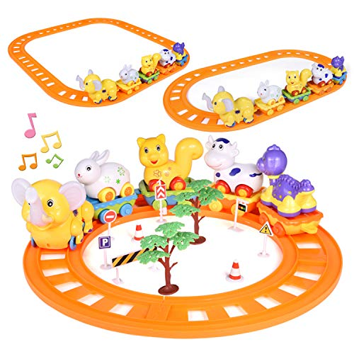Toddler Train Set Toys, 27 PCs Train Track Toys with Musical Animals Toys, Zoo Carrier Train Cars, Optional Splicing Train Tracks, Animal Train Toy for Todders ()