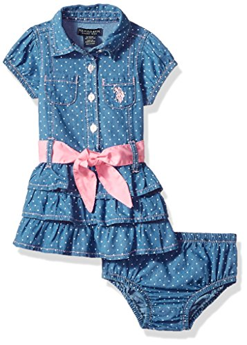 Baby Girl Polo Dress - U.S. Polo Assn. Baby Girls Casual Dress, Tiered Ruffle Contrast Belt Blue wash, 6-9 Months