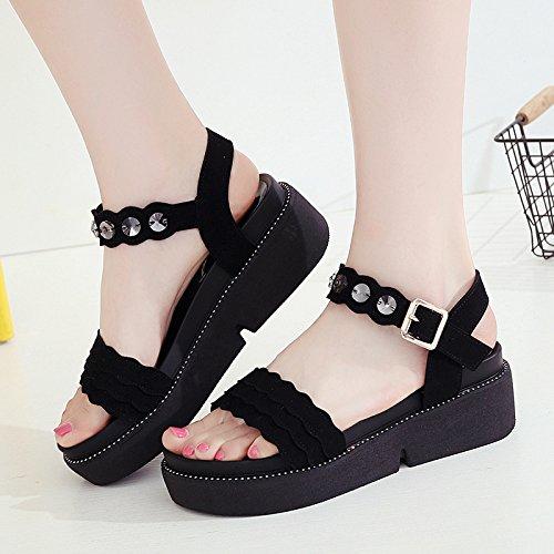 moda scarpe con outdoor scarpe wine beach bocca estiva casual donna toe da pesce confortevole open YMFIE Sandali Red zeppa slip 6xqw6B8