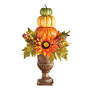 Collections Etc Harvest Pumpkin Topiary Fall Tabletop Décor, Indoor Home Accents Mantelpiece 21