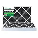FilterBuy Allergen Odor Eliminator 14x24x1 MERV 8 Pleated AC Furnace Air Filter with Activated Carbon - Pack of 4 - 14x24x1