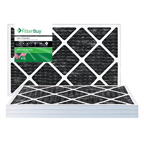 FilterBuy Allergen Odor Eliminator 14x30x1 MERV 8 Pleated AC Furnace Air Filter with Activated Carbon - Pack of 4 - 14x30x1