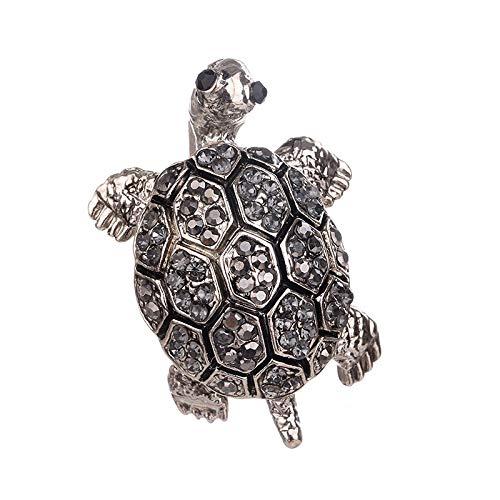 (SODIAL 1Pcs Rhinestone Turtle Brooch Pin Cute Kawaii Vintage Tortoise Brooches Kids Gift Animal Hijab Pins Bags Accessories(Grey))