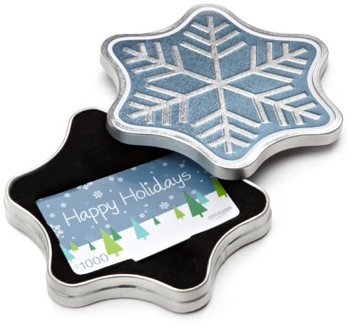 Amazon.com $1000 Gift Card in a Snowflake Tin (Happy Holidays Card (Holiday Snowflake Gift Card)