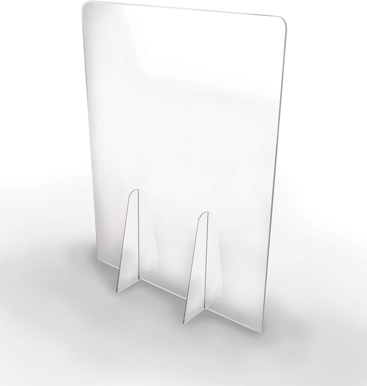 Pantalla Protección Mostrador 100x80cm - PET Policarbonato Transparente 3mm - Mampara para Mostradores ULTRARESISTENTE y ESTABLE - Separador Transparente para Colegios Supermercados Farmacias Tiendas: Amazon.es: Oficina y papelería