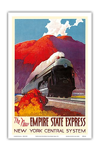 The New Empire State Express - Hudson River Valley - Locomotive - New York Central System - Vintage Railroad Travel Poster by Leslie Darrell Ragan c.1941 - Master Art Print - 12in x (New York Central System)