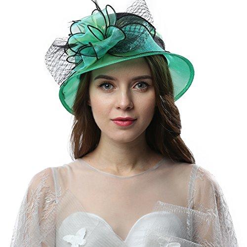 Janey&Rubbins Women Kentucky Derby Church Wedding Fascinators Cloche Bucket Bowler Hat (Green/Black)