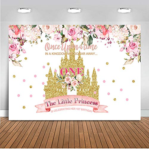 Mocsicka Baby Girl 1st Birthday Backdrop 7x5ft Vinyl Little Princess Happy First Birthday Party Banner Photo Booth Backdrops Gold Castle Floral Photography Background -