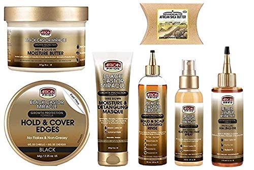 African Pride Hair Care - AFRICAN PRIDE BLACK CASTOR MIRACLE HAIR CARE (6pcsCOMBO-MASQUE&RINSE&SPRAY&SEALING-OIL&EDGES-BLACK&MOIST-BUTTER&SHEA-BUTTER)