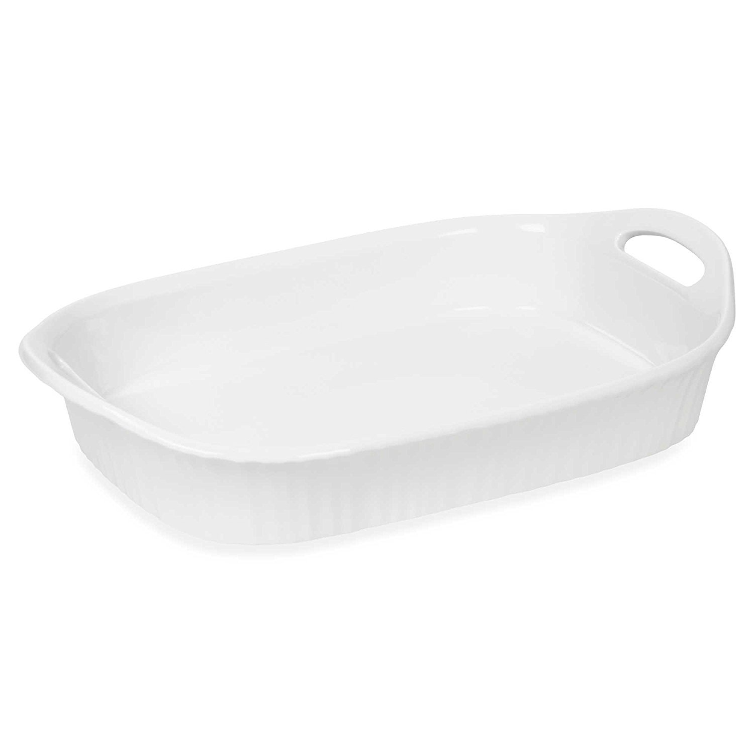 CorningWare French White III 3-Quart Ceramic Oblong Casserole Dish with Sleeve | Oven, Microwave, Refrigerator and Freezer Safe