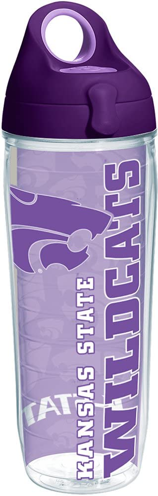 Tervis 1220367 Kansas State Wildcats College Pride Tumbler with Wrap and Purple Lid 24oz Water Bottle, Clear