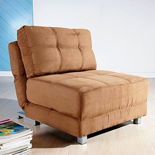 Convertible Fabric Upholstered Chair Bed in Brown Finish with Foam Fill, Foldable into Sigle Sleeper Mattress, Sturdy Wood Frame, Living Room, Multi-position, Bundle with Expert Guide for Better Life (Chair Sleeper Upholstered)