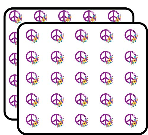 Peace Symbol with Flowers Sticker for Scrapbooking, Calendars, Arts, Kids DIY Crafts, Album, Bullet Journals 50 - Stickers Round Peace Symbol