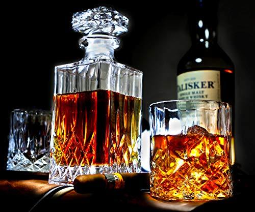 ELIDOMC 5PC Italian Crafted Crystal Whiskey Decanter & Whiskey Glasses Set, Crystal Decanter Set With 4 Whiskey Glasses, 100% Lead Free Whiskey Glass Set by E (Image #5)