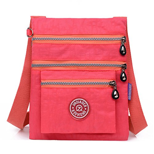 Water TianHengYi Pink Resistant Nylon Bag Multilayers Small Cross body Shoulder fqUwx5aqp