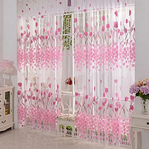 Floral Tulle Voile Window Curtain Drapes Tulip Flower Sheer Door Room Dividers Scarf Valances Pastoral Decorative Window Treatments 1 Panel BROSHAN (Tulip pink)