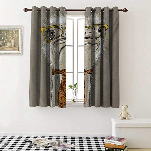 (shenglv Indie Waterproof Window Curtain Sketch Portrait of Funny Modern Ostrich Bird with Yellow Eyeglasses and Tie Curtains for Party Decoration W84 x L72 Inch Taupe Beige Yellow)