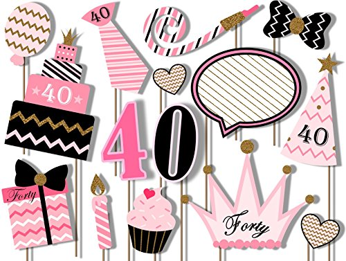 40th Birthday Elegant Pink and Gold Photo Booth Props Kit - 20 Pack Party Camera Props Fully Assembled