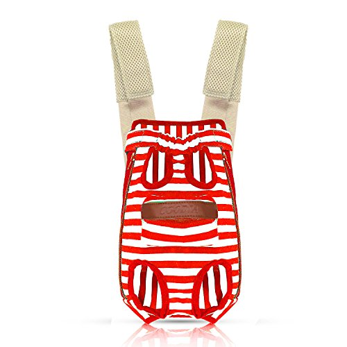 COODIA Legs Out Front Pet Dog Carrier Front Chest Backpack Pet Cat Puppy Tote Holder Bag Sling Outdoor (M, Red) ()