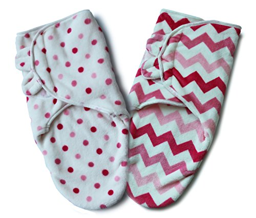 Bisdis Swaddle Blanket - Super Soft Easy Adjustable Infant Wrap - Set of 2 Chevron and Polka Dot Pattern for Baby Girl - Small