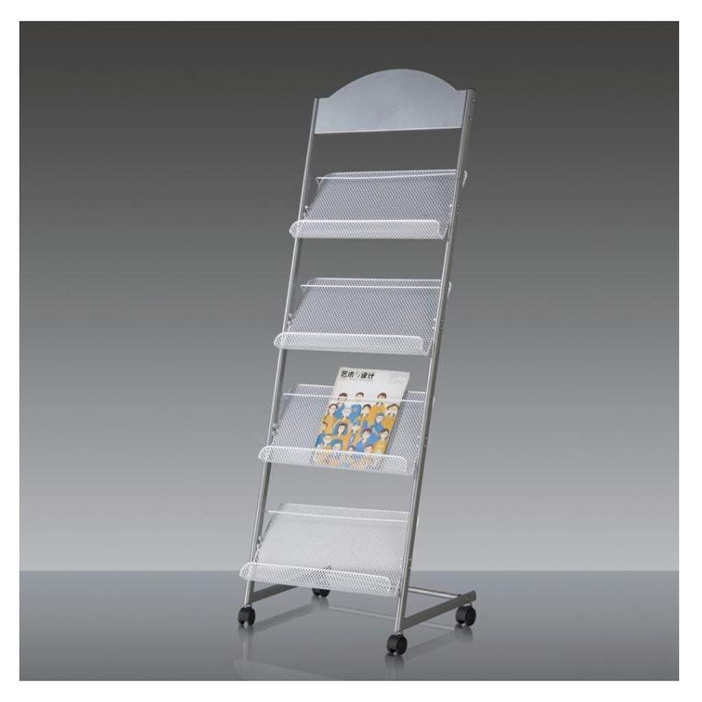 YCYG Folder, Metal mesh, Magazine Storage Box, File cla Brochure Display Stand, Magazines and Brochures Stand with Wheels and 4 Shelves by YCYG