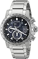 Citizen Men's AT9070-51L World Time A-T Wrist Watch with Silver Band and Blue Dial