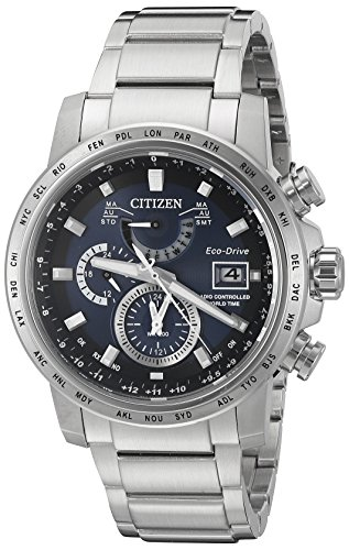 Citizen Eco-Drive Men's 'World Time A-T' Quartz Stainless Steel Casual Watch, Color Silver-Toned (Model: AT9070-51L) ()