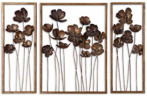 Antique Gold Leaf Metal Tulips Set Of 3 Wall Art ()