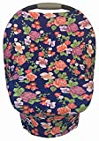 6 in 1 Blue Infant Car Seat Cover, Nursing Cover, Shopping Cart, High Chair Cover-Cotton-Stretchy-Breathable-Watercolor Floral