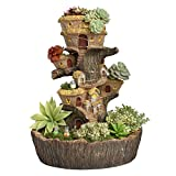 Large Forest String Light Fairy Garden Pot Resin Stump Tree House Planter for Succulents Cactus NCYP Modern Gardening Treehouse Sculpture Multilayer Display Decorative Flower Pot (No Plants)