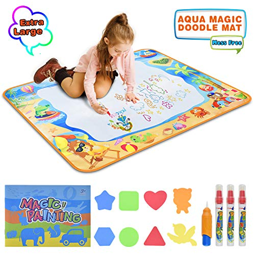 BROTOU Water Doodle Mat for Kids Toy Gifts Large Size Water Drawing Mats with 3 Magic Pens, 1 Magic Brush, and Drawing Accessories for Magic Toddler Coloring Painting Board Educational Writing Pads