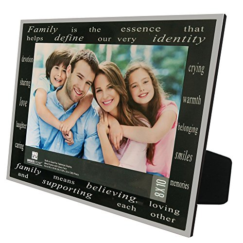 "Breeze Point Famliy Family Photo Frame - Family & Love, 8"" x 10"", Black/Silver"