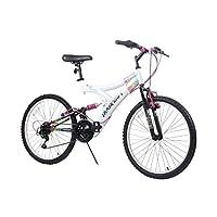 "Dynacraft Women's 24"" 21 Speed Rip Curl Bike, 17""/One Size, White/Black/Pink"