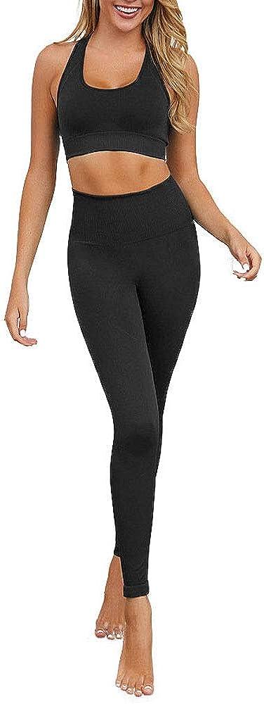 haashpylien Tuta da Donna Set Tinta Unita Sportiva Crop Top e Pantaloni Elastici Stretti per Palestra Pilates Yoga Fitness Allenamento Tuta Completa per Donna