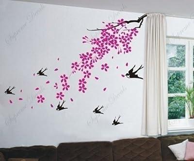 Cherry blossom, birds - Beautiful Tree Wall Decals for Kids Rooms Teen Girls Boys Wallpaper Murals Sticker Wall Stickers Nursery Decor Nursery Decals
