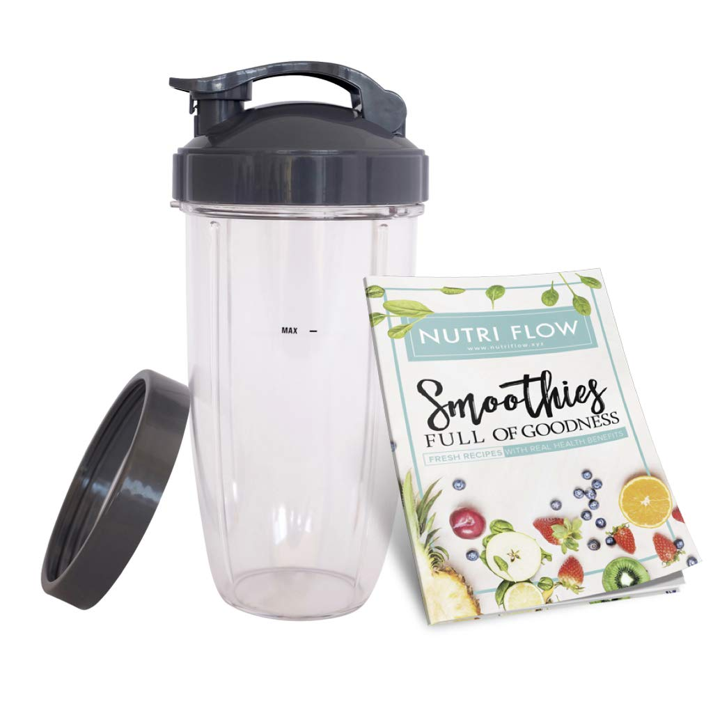 Cup for NUTRIBULLET 32 oz. Tall Colossal Cup with Flip Top + FREE Lip Ring & EXCLUSIVE Smoothie RECIPE Booklet by Nutri Flow - for Nutri Bullet 600 Blender & Nutri-Bullet 900 Mixer