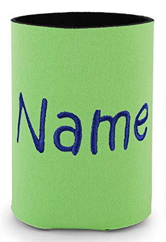 Personalized Neon Green Can Cooler with Embroidered Name -