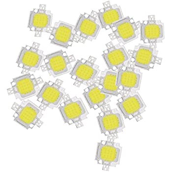 SODIAL(R) 20PCS 10W LED Pure White High Power 1100LM LED Lamp SMD Chip light Bulb DC 9-12V