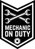 Cool Manly Mechanic On Duty Badge Cartoon Icon Vinyl Sticker (12'' Tall)