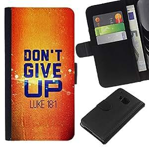 KLONGSHOP // Tirón de la caja Cartera de cuero con ranuras para tarjetas - BIBLIA No dé para arriba Lucas 18.1 - HTC One M7 //