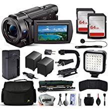 Sony FDR-AX33 4K Ultra HD Camcorder Video Camera + 128GB Memory + Charger with Car/Euro Adapter + Action Stabilizer + LED Night Light + Cap Keeper + Large Case + Monopod + Dust Cleaning Kit + More