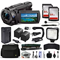 Sony FDR-AX53 4K Ultra HD Camcorder Video Camera + 128GB Memory + Charger with Car/Euro Adapter + Action Stabilizer + LED Night Light + Cap Keeper + Large Case + Monopod + Dust Cleaning Kit + More
