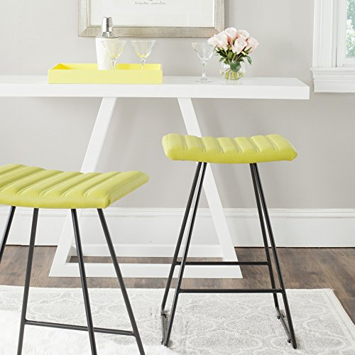 Safavieh Home Collection Akito Mid-Century Modern Green 26-inch Counter Stool (Set of 2)
