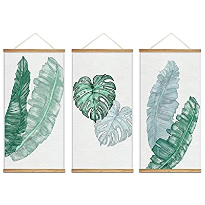 Alluring Artistry, Hanging Poster with Wood Frames Beautiful Green Plants Home Wall x3 Panels, With a Professional Touch